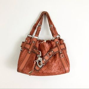 Francesco Biasia Woven Leather Bag Burnt Orange Belinda